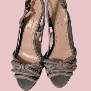 Prada Blue Leather Bow Slingback Heels